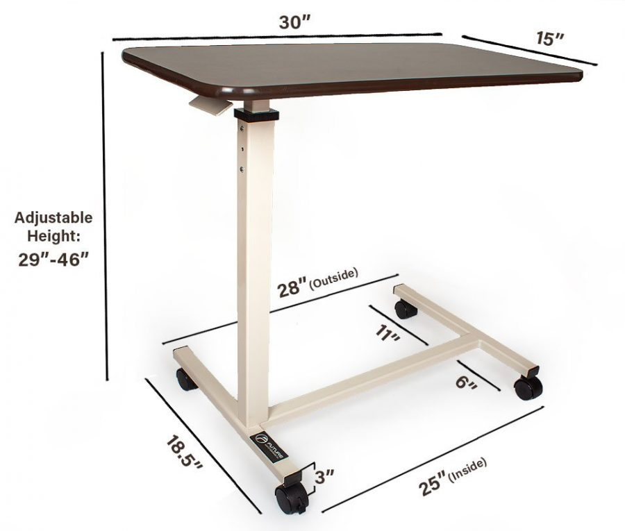overbed table mesurment