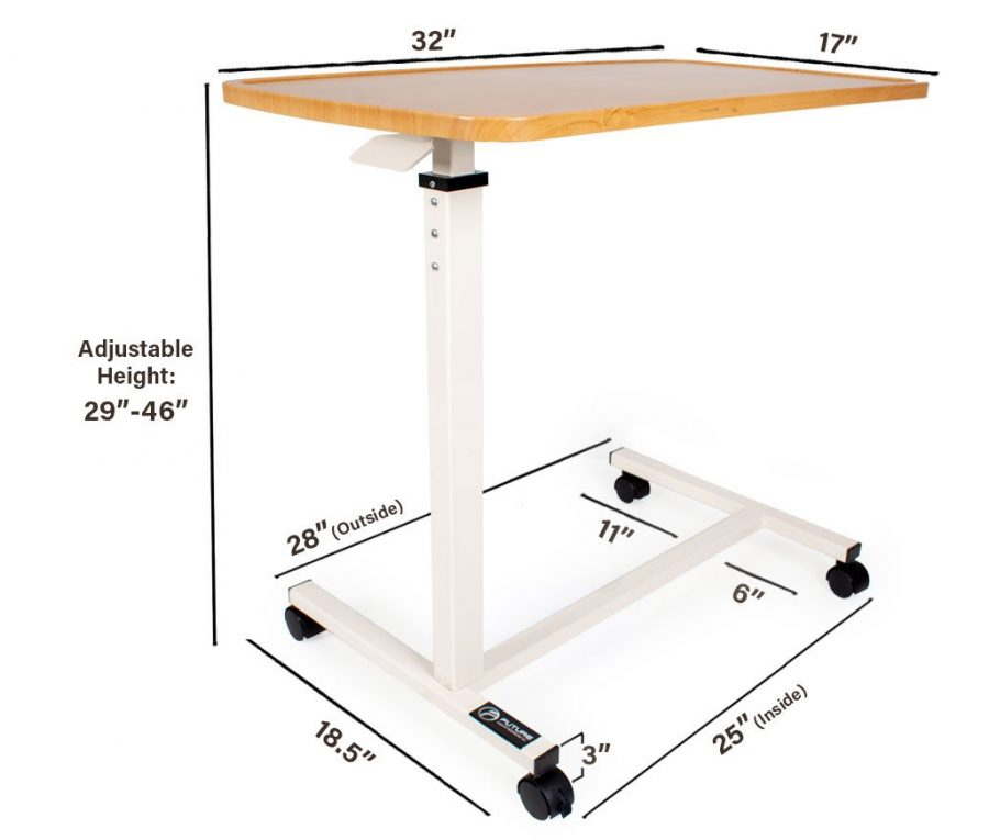 overbed table measurements